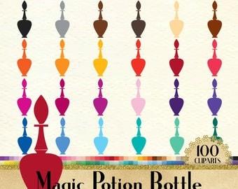 100 Vintage Magic Potion Bottle Clipart, Vintage Bottle Clipart, 100 PNG Clipart, Planner Clipart, Instant Download Clipart, Potion Clipart