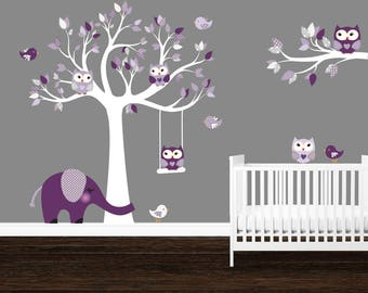 Owl tree wall decal, Girl's room wall decals, Purple, Gray, Lavender, Elephant, Owl stickers, Birds, Girl's owl stickers, Tree stickers