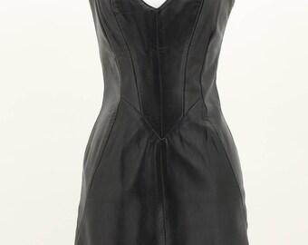 Firenze Vintage Black Leather Dress Size Medium M