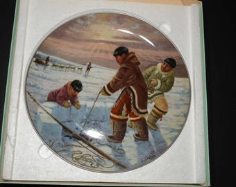 1983 People of the Midnight Sun series, Nori Peter artist, collectible plate, The Hunter's Reward, Kaiser Porcelain, native people