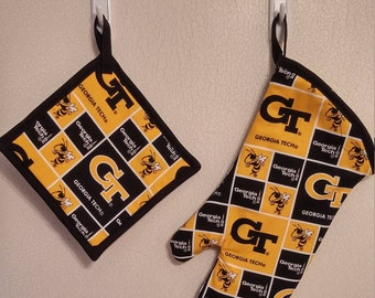 Georgia Tech Potholder and Mitt set