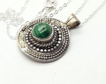 Malachite Sterling Silver Pendant Necklace /Vintage/Handmade/Free Shipping US /Birthday/Christmas/Mother/Valentine/gift for her