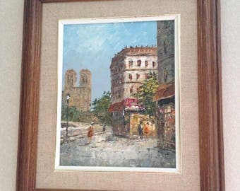 DAVIS Signed Antique Oil Painting Wood Frame Beautiful City