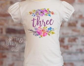 Three Purple Glitter Floral Third Birthday Puff Sleeve Shirt, 3rd Birthday Shirt, Third Birthday Outfit, Glitter Birthday Shirt - P403F