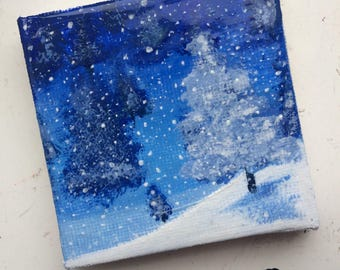 Snowy Christmas Evening Scene Painting (Varnished)