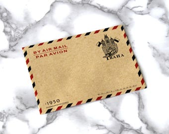 5PCS Vintage Style Mailing Envelopes, Mini Retro Envelopes, Praha Old Air Mail Envelopes, Collectors Gift Ideas For Christmas Under 5