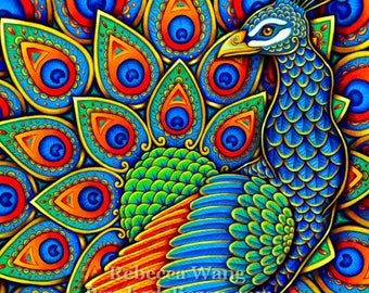 Colorful Paisley Peacock Rainbow Bird Giclée Fine Art Print