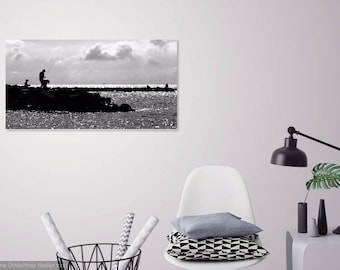 Fishing the Gulf of Mexico at dusk at Dauphin Island, Alabama - Black and White Silhouette - Fishermen - Ocean - Photography - Photo Print