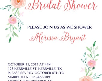 Floral Bridal Shower Invite, Bridal Shower, Wedding Shower