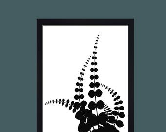 floral print black and white minimalist print monochrome print scandi print flower print flower wall art scandinavian design