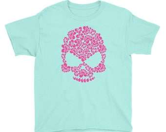 Pink Hibiscus Floral Skull Print Youth/Kids Short Sleeve T-Shirt