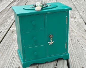 Vintage Jewelry Box, Beach girl, Upcycled, teal jewelry box, Shabby Chic