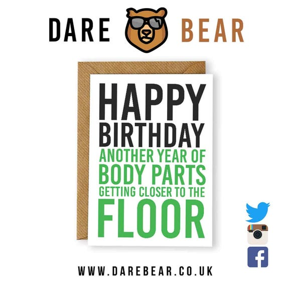 Funny Rude Birthday Card Dare Bear