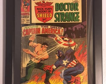 Original Strange Tales #159 Silver Age Framed Comic Book- Doctor Strange Nick Fury Captain America Severin Steranko - Marvel Comics