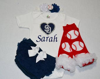 san diego padres baby girl outfit - baby girl san diego padres outfit - girls padres baseball outfit - san diego padres baby girl gift
