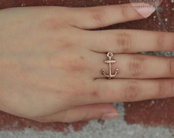 Sideways Anchor Ring Rose Gold, Sterling Silver, Nautical Ring, Rope Anchor Ring, Anchor Jewelry, Minimal Jewelry, Silver Minimalist Ring