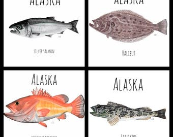 Alaska Ceramic Tile Coaster-Fishing Coasters-Saltwater Coasters