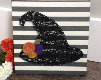Halloween Witch Hat String Art, Halloween decor, Fall decor, Fall string art,Autumn, farmhouse fall decor