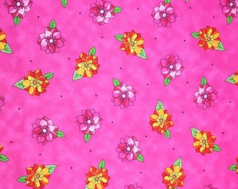 Floral Cotton Fabric, Fabric By the Yard, Quilting Fabric, Apparel Fabric, Floral Print Fabric, Pink Cotton
