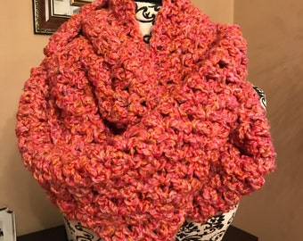 Bright Pink and Orange Crocheted Infinity Scarf