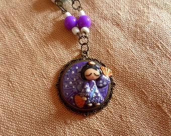 Geisha Pendant, Kabuki Dance, Geisha Necklace, Dancing Geisha, Dancing pendant, Dance necklace, Japanese Dance, Kawaii Kimono Girl