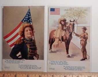 1908 Set of Vintage Flag Series Themed Post Cards - 9 Cards Copyright by Grollman.
