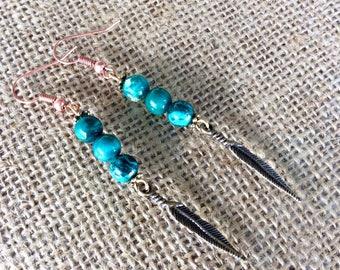 Turquoise Earring, Drop Earring, Turquoise Jewelry, Bohemian Earring, Boho Dangle Earring, Gamestone Earring,  December Birthstone.