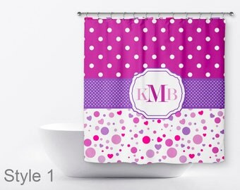 Kids Personalized Shower Curtain - Polka Dot Shower Curtain - Shower Curtain For Kids  - Monogram Shower Curtain - Girls Shower Curtain
