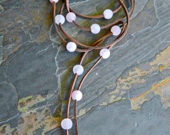 Gemstone Wrap Lariat, Suede Necklace, Long Necklace, Boho Bohemian, Pink Quartz, Beaded Necklace, Wrap Choker Necklace, Wrap necklace, Pink