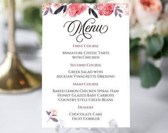 Floral Wedding Menu, Floral Menu Card, Floral Wedding Card, Floral Menu Template, Printable Menu Card, Menu For Wedding, Wedding Menu Cards