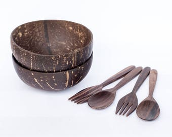 2 Coconut Shell Bowls with 2 pairs of Wooden Forks and Spoons