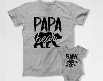 Matching Father And Baby Shirts Daddy And Son Gifts Dad And Daughter Tops Daddy And Me Clothing Dad And Baby Papa Bear Baby Bear TEP-250-251