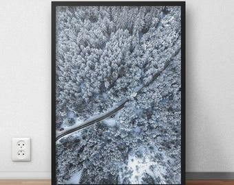 Snow Forest Printable, White Forest Digital Print, Winter Forest Poster, Winter Snow Wall Art, Forest Printable Poster, Winter Deco, Aerial