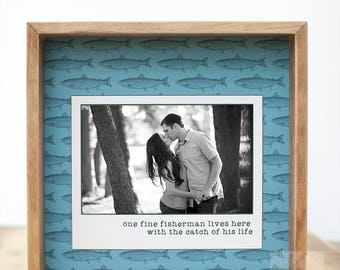 Fishing Picture Frame Fishing Gift for Husband From Wife Fisherman Gift To Husband Personalized Picture Frame Fishing Decor Wedding Gift