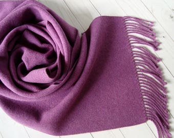 Hand woven womens wool scarf Woolen woven winter scarf fringes Lilac women scarf Wool handmade scarf Wool ladies wrap Handwoven wool scarf