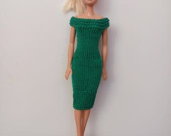 Dress for Barbie handmade saturated dark green color