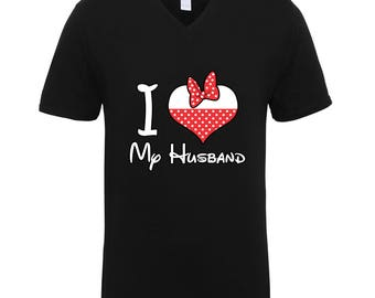 I Love My Husband Minnie Mouse Shirts Adult Unisex Men Size V Neck Best Seller T-Shirts Couple Goals Gifts