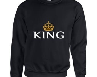 King  Couple Goals Clothing Adult Unisex Sweatshirt Printed Crew Neck Sweater for Women and Men