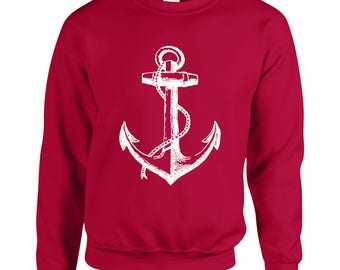 Boat Anchor Adult Unisex Designed Sweatshirt Printed Crew Neck Sweater for Women and Men