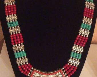 Himalayan handmade necklace multiple gemstone