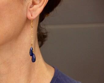 Grade AAA Lapis Lazuli earrings on Gold