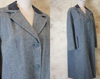 80s Wool Coat, Vintage Women's Wool Coat, Oversized Wool Coat, Long Line Coat, Size M, Size L, Medium Large