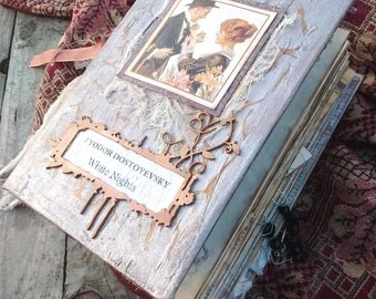 "Junk Journal based on Dostoyevsky ""White Nights"" , Vintage Journal"