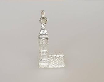 Big Ben/Elizabeth Tower Charm Pendant in .925 Sterling Silver