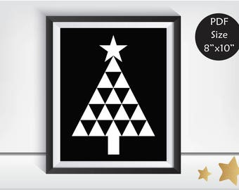 Christmas Tree Print, Christmas Tree Art, Christmas DIY, Modern Christmas, Christmas Decor, Wall Decor, Holiday decor, Black and White