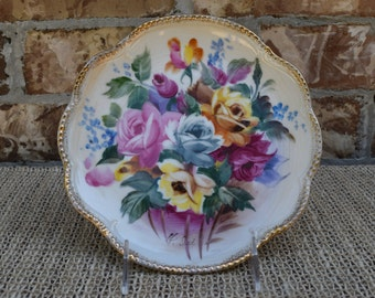 """Wales 8"""" Hand Painted Roses Decorative Plate Made in Japan"""