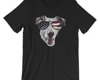 Patriotic Jack Russell US Flag Glasses UNISEX T-Shirt July 4th gift