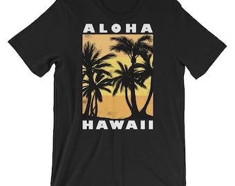 Aloha Beaches Hawaii T-Shirt Vintage Palms Shirt Vacation Gift