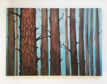 Original painting, art, forest, tree trunk painting, acrylic painting on canvas, wall art, home decor, gift, nature lovers, nature in art