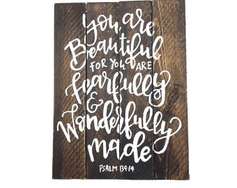 Fearfully and Wonderfully Made Wooden Box Sign   Psalm 139:14 Wooden Sign